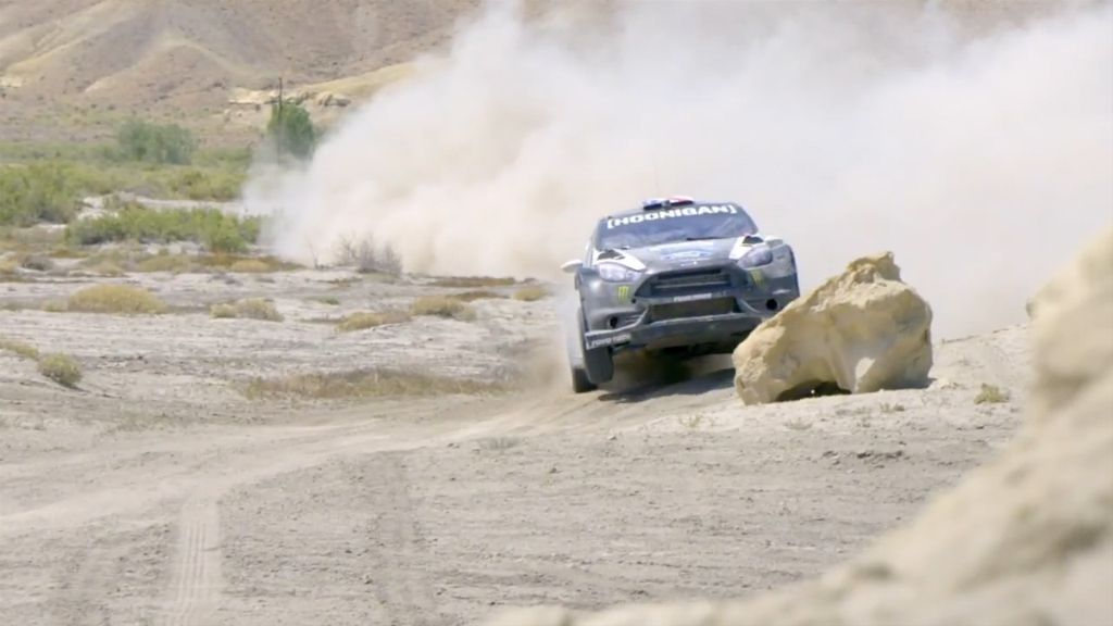 Professional rally driver goes off road