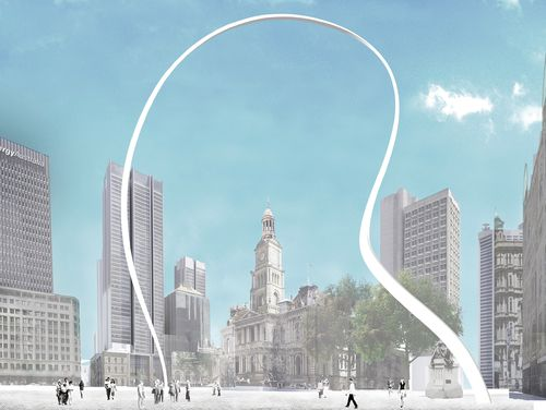 An artist's impression of Cloud Arch, a public artwork designed by Japanese artist and architect Junya Ishigami. (AAP)