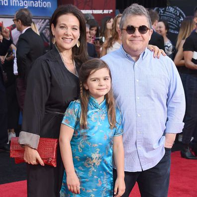 Patton Oswalt, Meredith Salenger, and Alice Rigney Oswalt attend the premiere of Spider-Man Far From Home in June 2019.