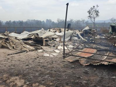 The remains of Brendan and Deb's home in Deepwater NSW after the 2018 bushfires.