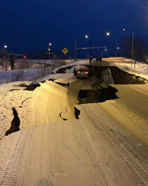 The earthquakes measured 7.0 and 5.6 and buckled roads across Anchorage Alaska.