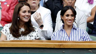 Kate and Meghan in the royal box at Wimbledon, July 2018