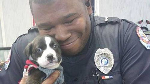 US police officer adopts abandoned pup encountered on a job