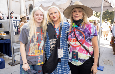 October 2, 2021: Harlow Jane, Patricia Arquette and Rosanna Arquette attend the Women's March 4 Reproductive Rights at Pershing Square on October 02, 2021 in Los Angeles, California.