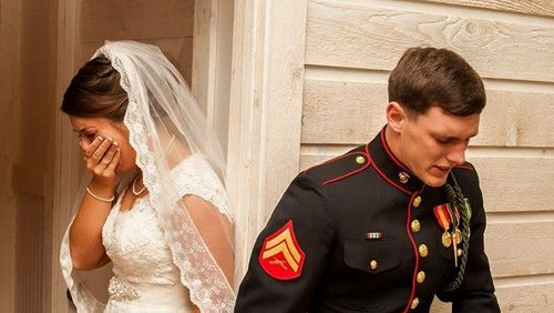 Thousands moved by poignant image of young Marine praying with bride-to-be