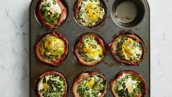 Green bacon and egg cupcake