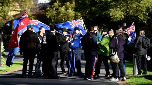 Far-right protesters turned out to a Melbourne rally. (AAP)