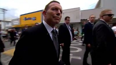 "That support went all the way up to Prime Minister Tony Abbott, who later tweeted it was a ""sad and poignant"" service to celebrate the young cricketer's life. (9NEWS)"