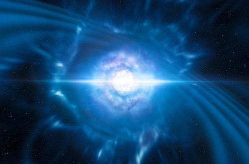 An undated handout photo made available by the European Southern Observatory (ESO) shows an artist's impression of two tiny but very dense neutron stars at the point at which they merge and explode as a kilonova.