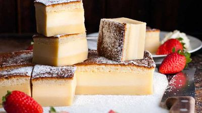 "Recipe:&nbsp;<a href=""http://kitchen.nine.com.au/2016/09/16/11/02/recipe-tin-eats-three-layer-custard-magic-cake"" target=""_top"">RecipeTin Eats three-layer custard magic cake</a>"