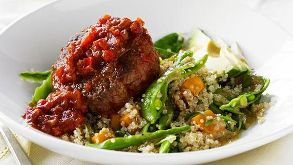 Spanish beef rissoles with quinoa salad