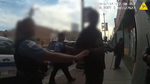 Police vision released from an altercation in Chicago over the weekend shows the man who was shot dead had a gun. Picture: CNN.