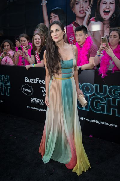 Demi Moore in Christian Dior at the premiere of Rough Night in New York.