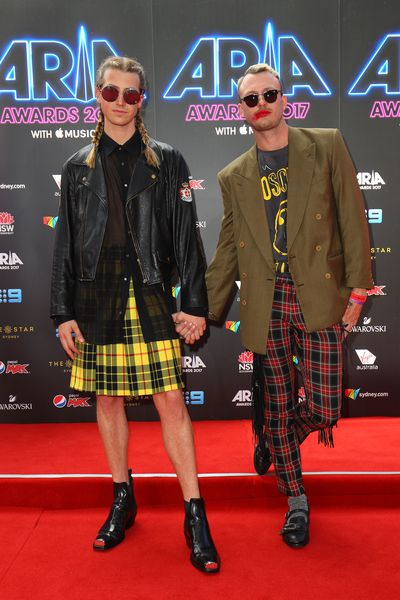 Media Personalities Christian Wilkins and Andrew Kelly at the 2017 ARIA Awards