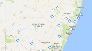 Fire alert map for NSW on Monday morning