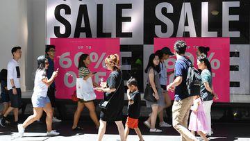 Shoppers at Pitt Street Mall in Sydney