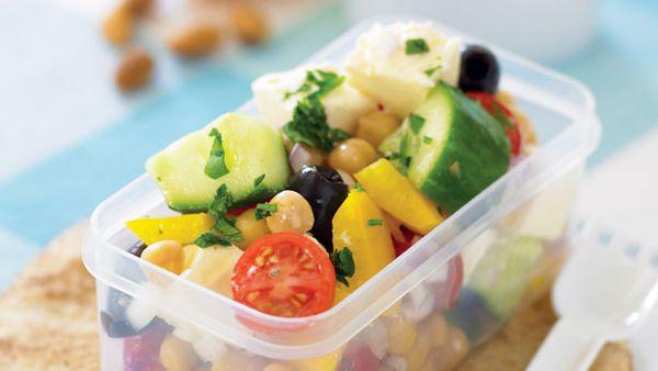 Greek salad with chickpeas
