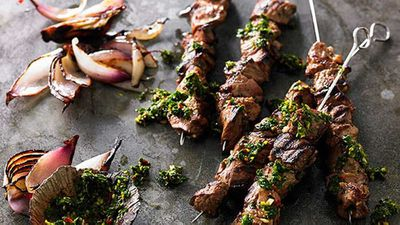 Garlic and oregano lamb skewers with chimichurri