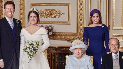Princess Eugenie has posted a wedding throwback photo on her Instagram account to mark Prince Philip's 99th birthday. It shows Eugenie standing next to her new husband Jack Brooksbank with sister Princess Beatrice standing next to them and Prince Philip and Queen Elizabeth seated in front of her.