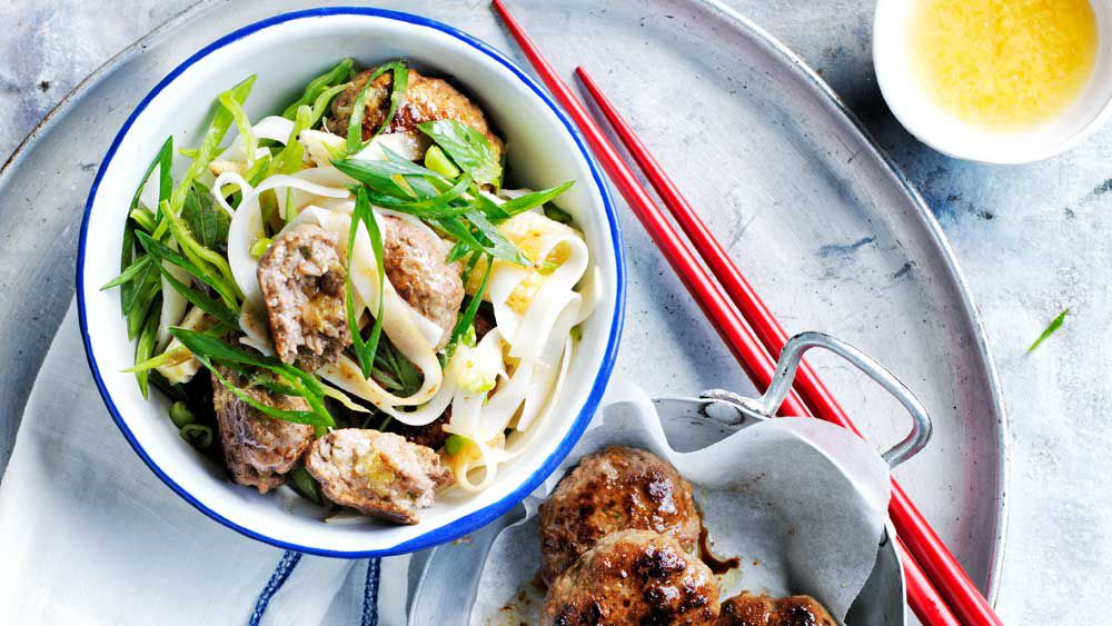 Thai beef patties and rice noodle salad recipe for BeefandLamb.com.au (MLA)