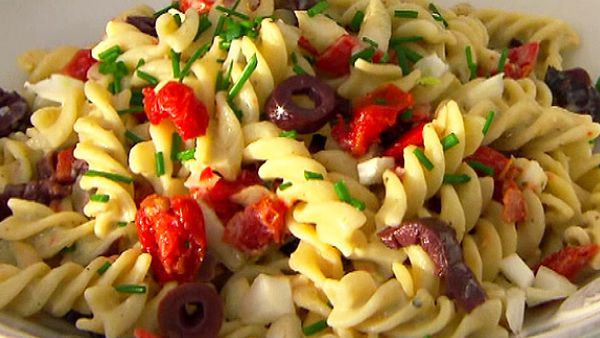 Josh Kennedy's basil pesto hommus pasta salad