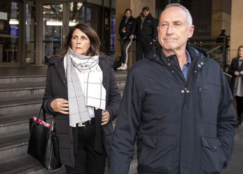 Patricia Gray (left), the aunt of Karen Ristevski, is seen leaving Melbourne Magistrates Court with support yesterday. Picture: AAP