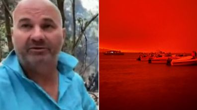 Holidaymaker forced to take shelter on boat as fire bore down