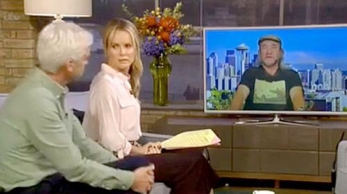 British breakfast TV hosts Phillip Schofield and Amanda Holden interview mechaphile Edward Smith. (ITV)