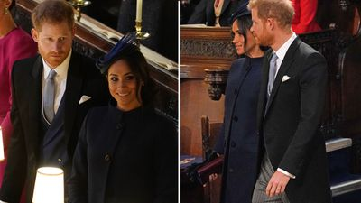 Prince Harry and Meghan Markle at Princess Eugenie's royal wedding, October 2018