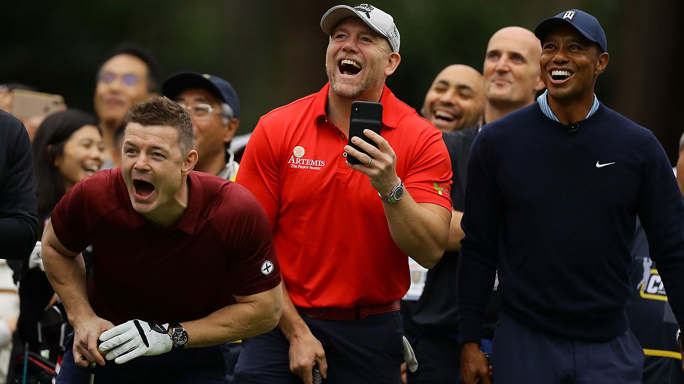 Irish rugby great Brian O'Driscoll upstages Tiger Woods during Japan Skins event