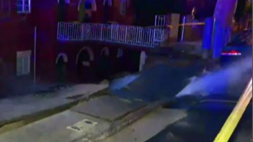 It took crews more than two hours to turn off the pipe and stop the gushing water. (9NEWS)