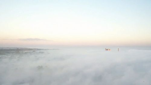 It was a rare sight in Darwin this morning with fog blanketing the city.
