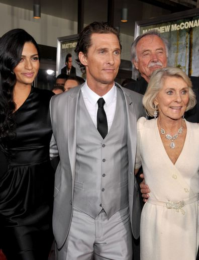 Matthew McConaughey arrives with his wife Camila Alves, his mother Kay McCabeat and father James Donald McConaughey at The Lincoln Lawyer LA screening in 2011.