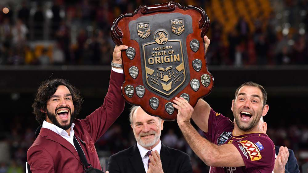 State of Origin: Queensland send Johnathan Thurston out a winner, as he raises the Shield with Cameron Smith