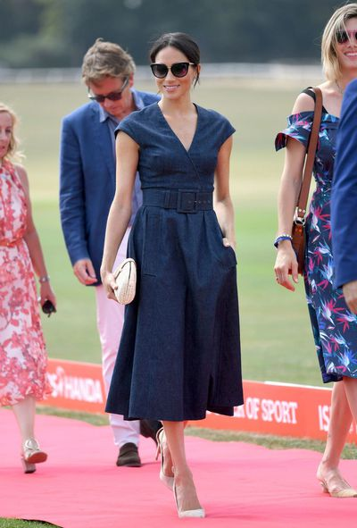 The Duchess of Sussexin Carolina Herrera at the Sentebale Polo 2018 in Windsor, England