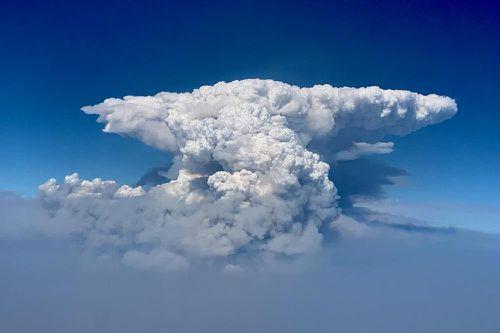 """Una nuvola pirocumulo, nota anche come nuvola di fuoco, è stata vista sopra il Bootleg Fire nel sud dell'Oregon mercoledì 14 luglio 2021. Fumo e calore da un enorme incendio nell'Oregon sudorientale. """"nuvole di fuoco"""" sopra il fuoco.  (Comando Bootleg Fire Incident tramite AP)"""