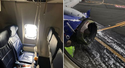 A flight attendant said when she looked out the window, she could see that one of the plane's engines was shattered, and there was blood on the outside of the aircraft.