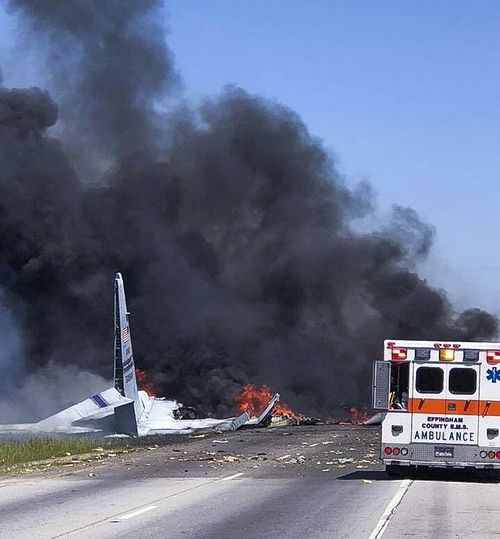 The C-130 National Guard cargo plane crashed and exploded into a fireball in Georgia, killing five people. (AAP)