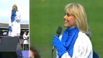 "Olivia Newton-John will perform ""Advance Australia Fair"" at the Grand Final this weekend, almost 30 years since she had the honour of performing our national anthem at the 1986 Premiership. (YouTube)"