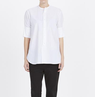 "<a href=""http://www.bassike.com/women/shirts/cotton-cropped-sleeve-shirt-ss16wft84-wht"" target=""_blank"">bassike</a>cotton cropped white shirt, $295"
