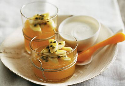 "Recipe: <a href=""/recipes/ibanana/8299329/passionfruit-jellies-with-banana-and-honey-yoghurt"" target=""_top"">Passionfruit jellies with banana and honey yogurt</a>"