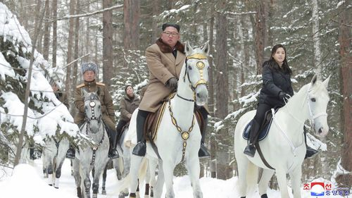 North Korea says leader Kim Jong Un has taken a second ride on a white horse to a sacred mountain.