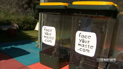 The clear bins are meant to be confronting to households. (9NEWS)