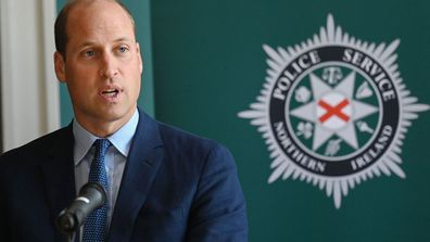 Prince William, Duke of Cambridge meets attendees of a PSNI Wellbeing Volunteer Training course, including representatives from the Ambulance and Fire and Rescue services, to talk about mental health support within the emergency services at PSNI Garnerville on September 09, 2020 in Belfast, Northern Ireland