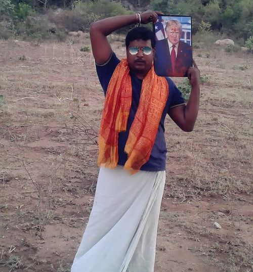 Krishna carries his picture of Trump everywhere he goes. Picture: Facebook