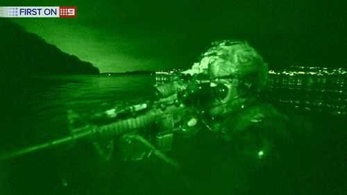 It's dark out there - requiring the use of night vision. (9NEWS)