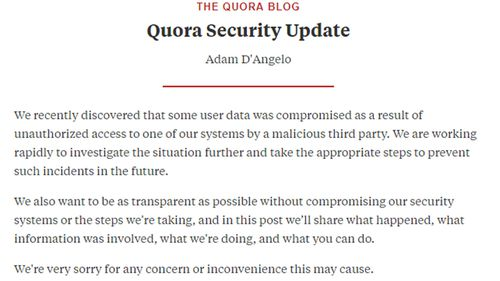"Quora said in a statement: ""It is our responsibility to make sure things like this don't happen, and we failed to meet that responsibility."