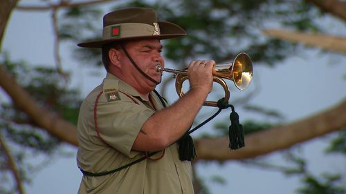 Veterans and current servicemen and women came together with local residents and young children to reflect on the Anzac history. Picture: 9NEWS.