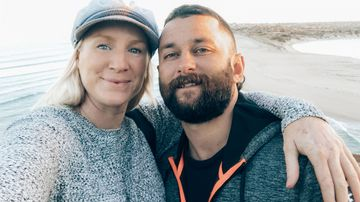 Kyle Goodwin, pictured with his partner Sarah Wright. Kyle has been diagnosed with accelerated silicosis.