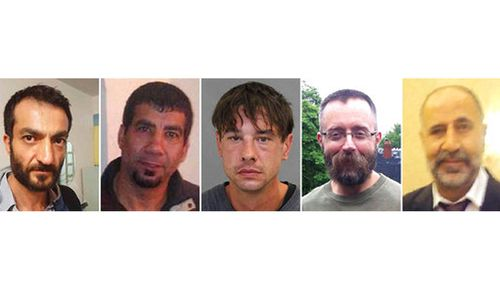 The five men Toronto landscaper Bruce McArthur is accused of killing, from left to right; Selim Essen, 44, Sorush Mahmudi, 50, Dean Lisowick, Andrew Kinsman, 49, and Majeed Kayhan, 58. Police say the 66-year-old McArthur killed at least five men over the span of nearly a decade. Police say they are on a wide search for other possible victims. (Toronto Police Service via AP)